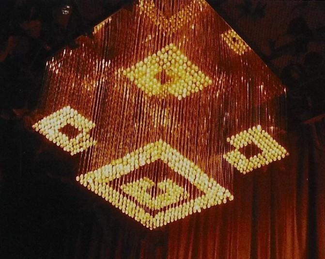 Square optical fiber chandelier