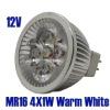 MR16 4x1W Warm White High Power LED Spot Light Bulb Lamp 4W AC/DC 12V