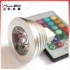 Multi color 3w led spotlight with remote control